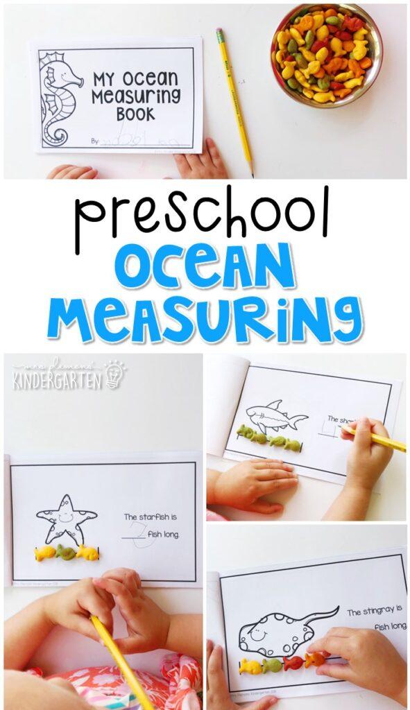 Practice measuring ocean animals with non standard units using goldfish crackers. Perfect for an ocean theme in tot school, preschool, or even kindergarten!
