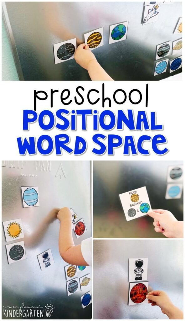 Practice positional words with this space magnet activity . Perfect for a space theme in tot school, preschool, or even kindergarten!