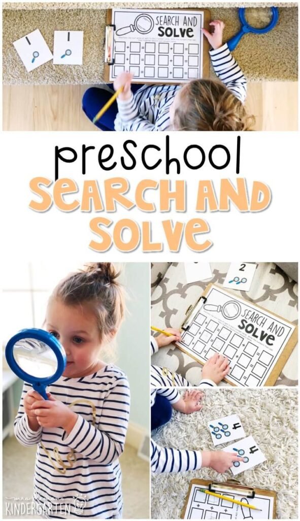 This search and solve addition activity was a great way to get moving while practicing new math skills with a five senses theme. Great for tot school, preschool, or even kindergarten!