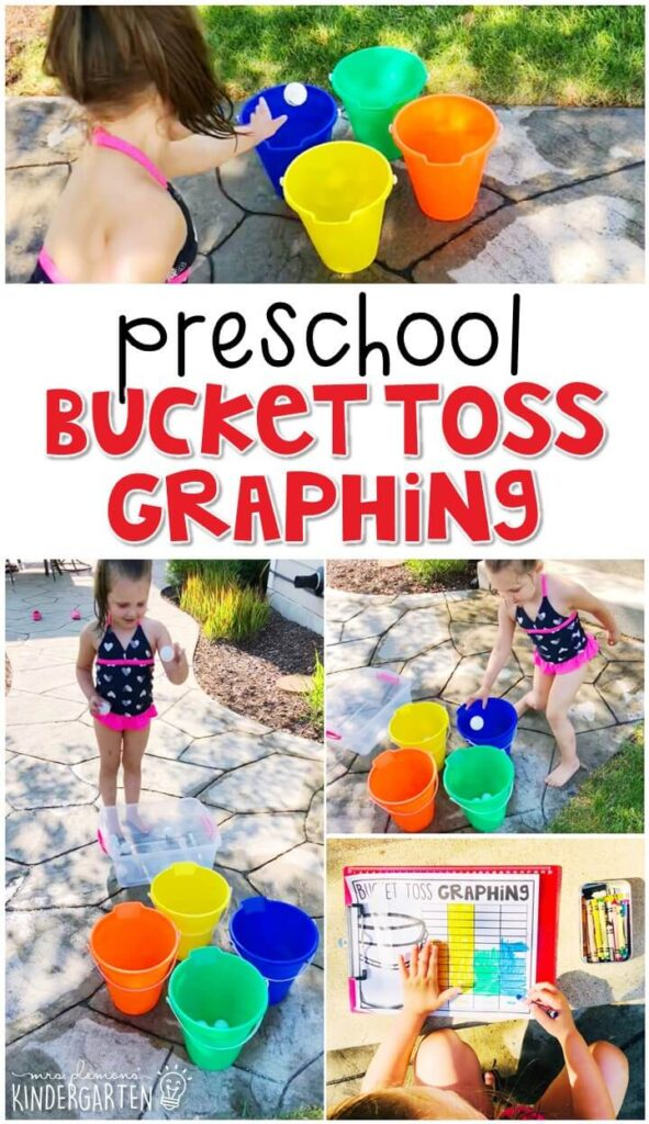 This bucket toss graphing activity was a great way to get moving and practice graphing skills. Perfect for a carnival theme in tot school, preschool, or even kindergarten!
