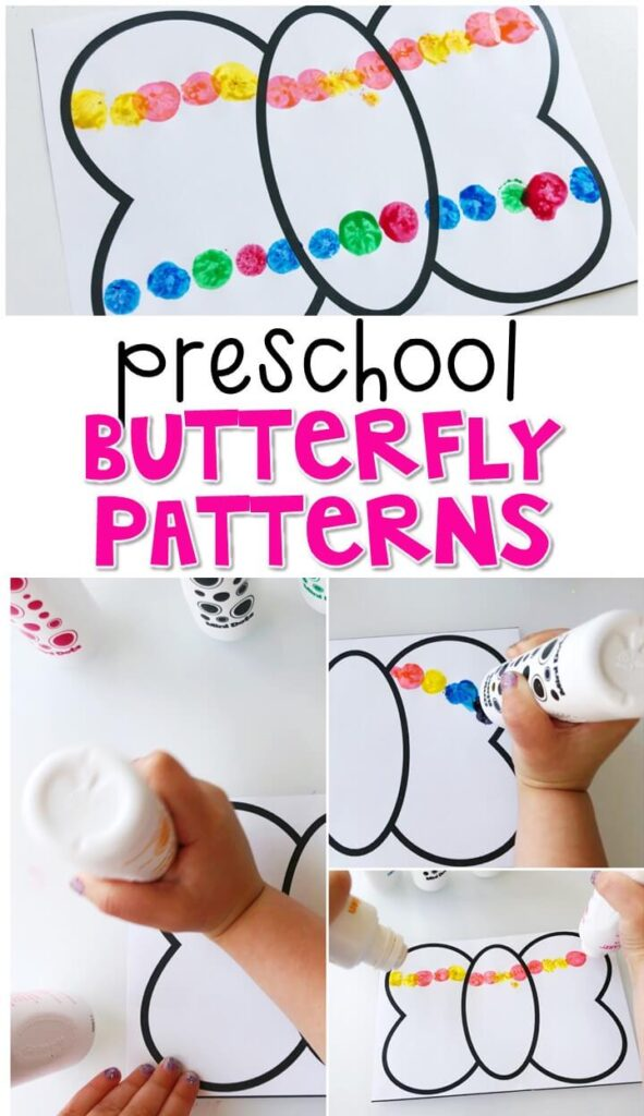 Practice making patterns with these butterfly stamp pattern pages. Perfect for a butterfly theme in tot school, preschool, or even kindergarten!