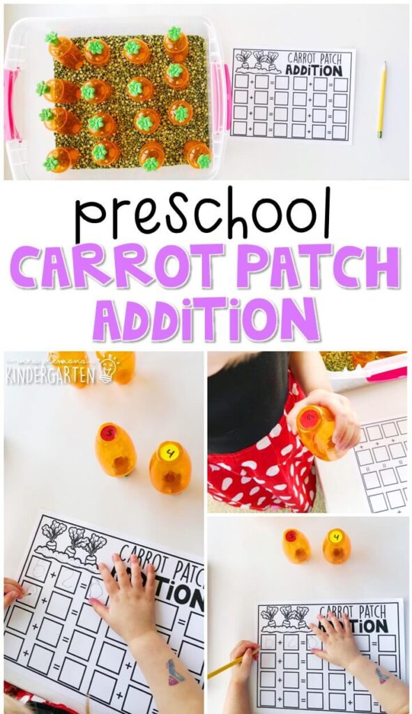 This carrot patch addition activity is a fun way to incorporate a sensory bin into math. Great for and Easter theme in tot school, preschool, or even kindergarten!