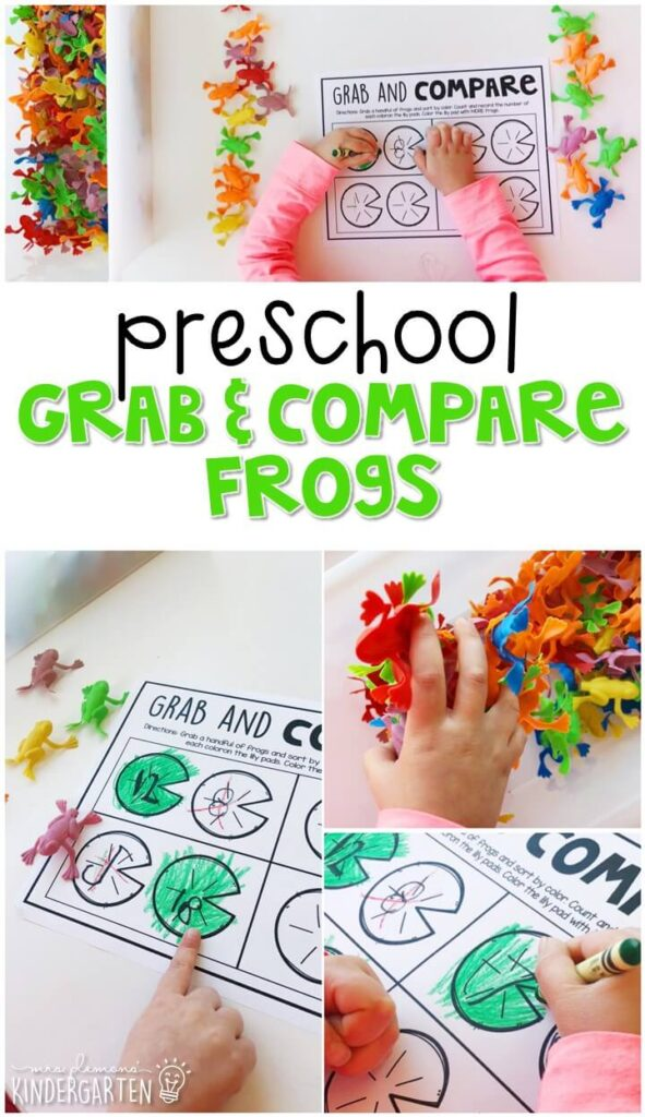 This grab and compare frogs activity is a great way to practice writing numbers, counting out sets of objects, and comparing sets. Great for spring in tot school, preschool, or even kindergarten!