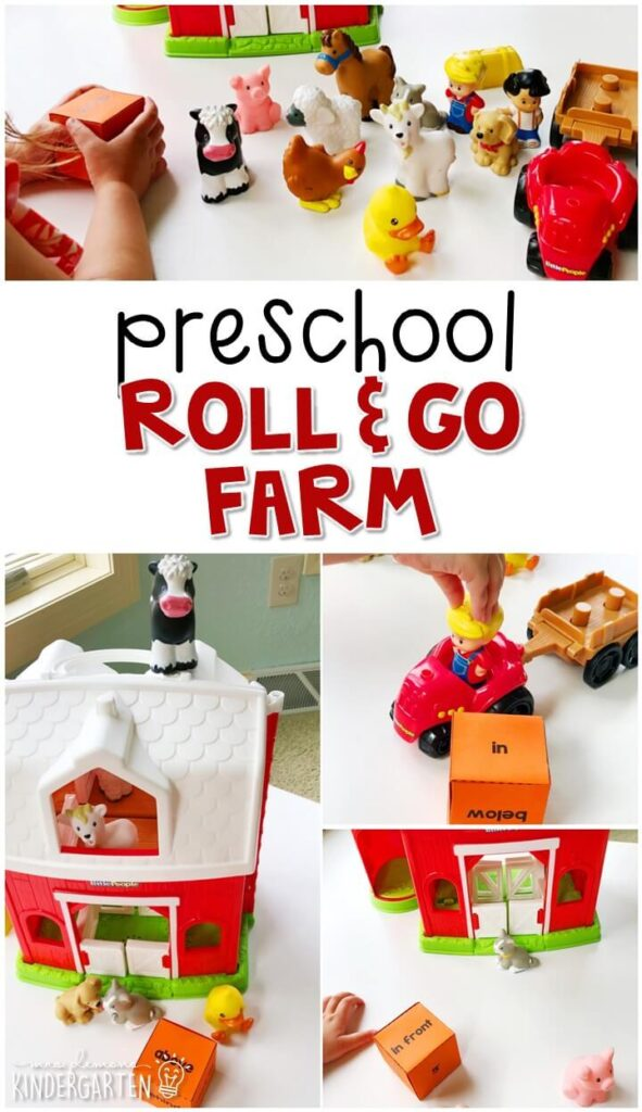 Learn about positional words with this Roll and Go farm hands on game. Great for tot school, preschool, or even kindergarten!