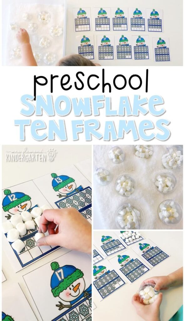 This snowflake ten frame activity is a fun way to practice identifying numbers and counting out sets of objects. Great for winter tot school, preschool, or even kindergarten!