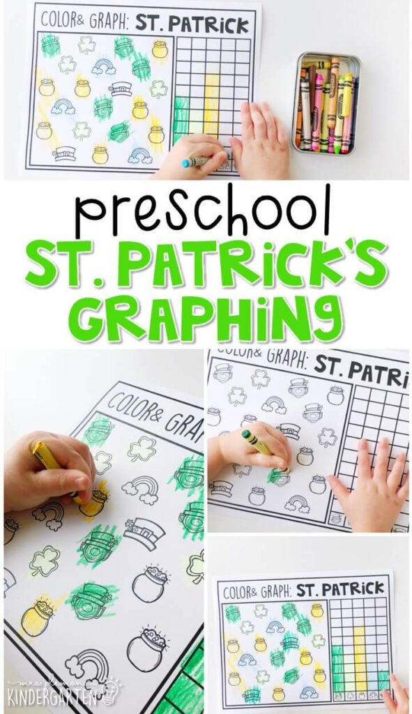 "Play ""I Spy"" and practice counting and graphing with this St. Patrick's Graphing activity. Great for spring in tot school, preschool, or even kindergarten!"