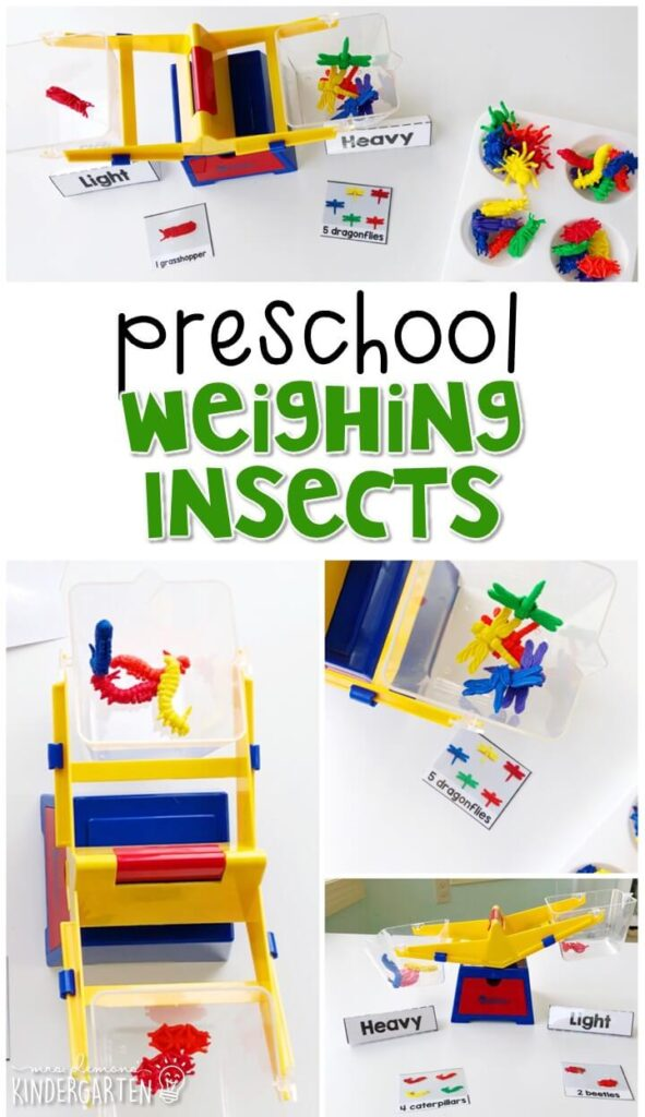 This weighing insects activity is a fun way to experiment with a balance scale with an insect theme. Great for tot school, preschool, or even kindergarten!