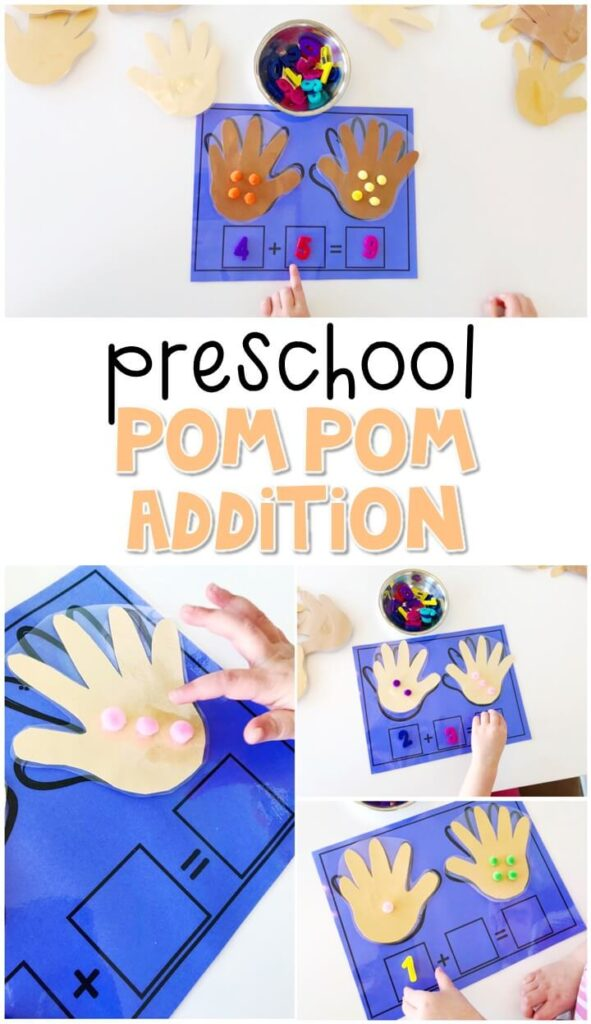 Practice beginning addition with this pom pom addition activity. Perfect for a five senses theme in tot school, preschool, or even kindergarten!