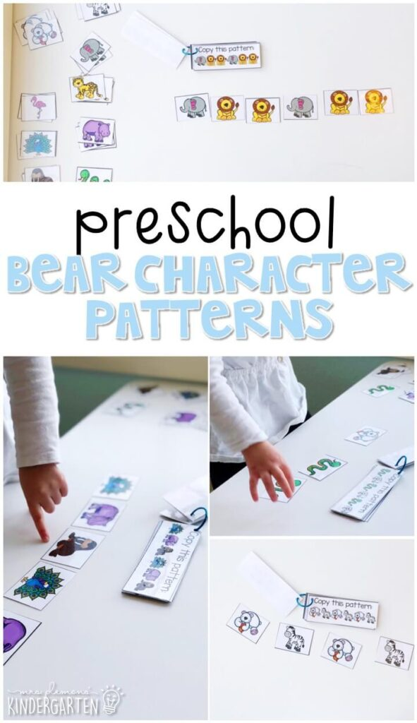 Practice building patterns with characters from Polar Bear Polar Bear by Eric Carle. Perfect for a polar bear or winter theme in tot school, preschool, or even kindergarten!