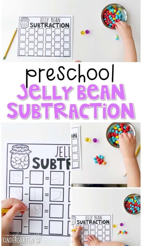 Introduce subtraction with this yummy jelly bean subtraction activity. Perfect for an Easter theme in tot school, preschool, or even kindergarten!