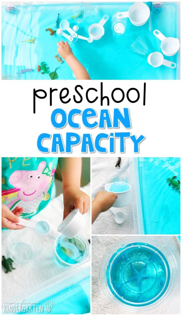 Learn about capacity while exploring this ocean capacity bin. Perfect for a ocean theme in tot school, preschool, or even kindergarten!