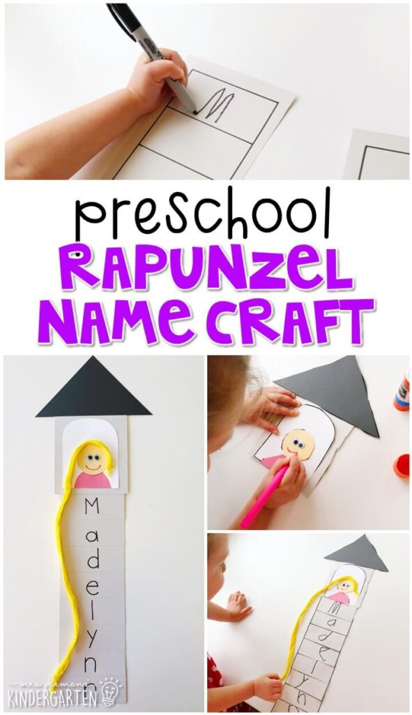 This Rapunzel name craftivity is fun for name writing, recognition, and fine motor practice with a fairy tale theme. Great for tot school, preschool, or even kindergarten!