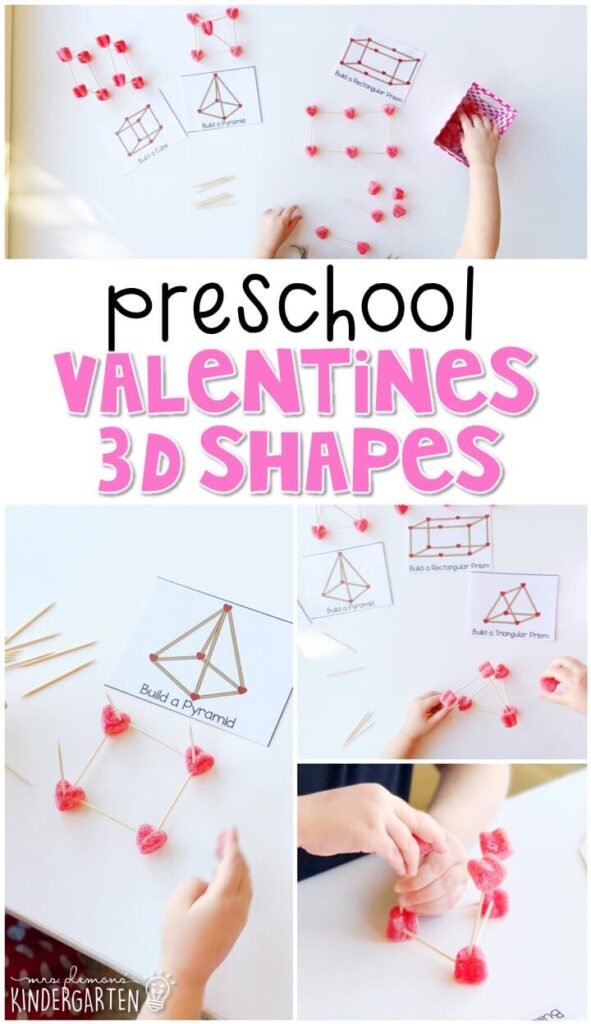 Practice identifying 3D shapes with this fun bingo game. Great for a valentines theme in tot school, preschool, or even kindergarten!