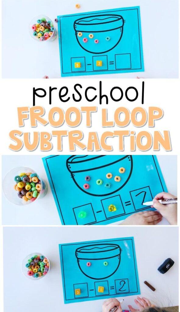 Practice beginning subtraction with this yummy froot loop subtraction activity. Perfect for a five senses theme in tot school, preschool, or even kindergarten!