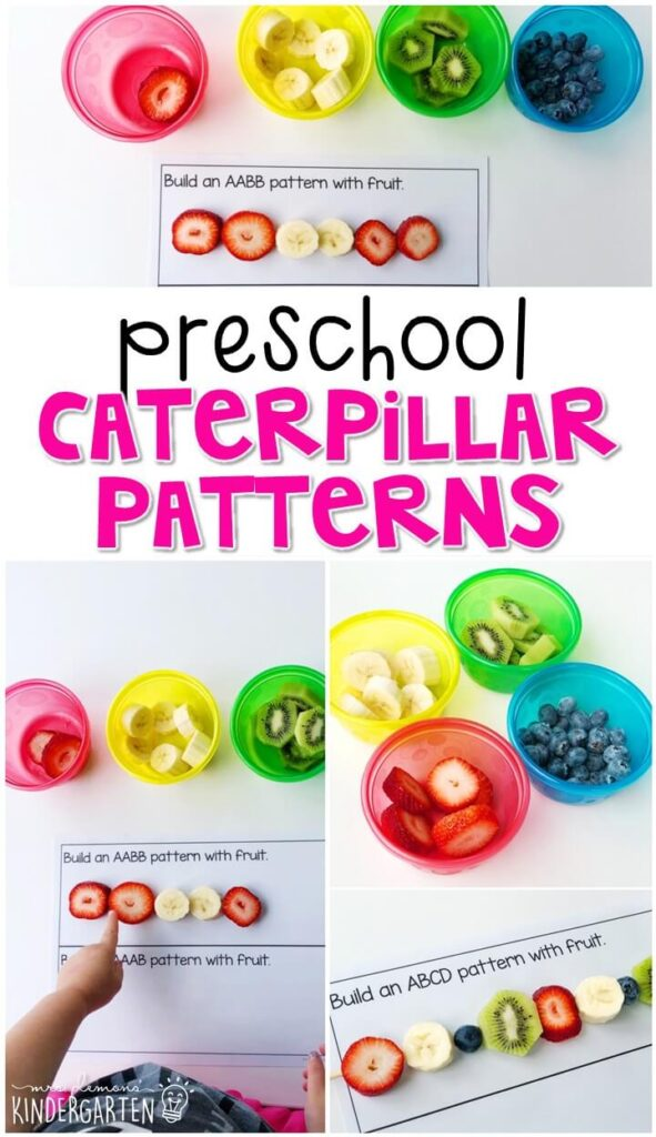"""Practice making patterns with these yummy edible fruit patterns inspired by """"The Very Hungry Caterpillar"""". Perfect for a butterfly theme in tot school, preschool, or even kindergarten!"""