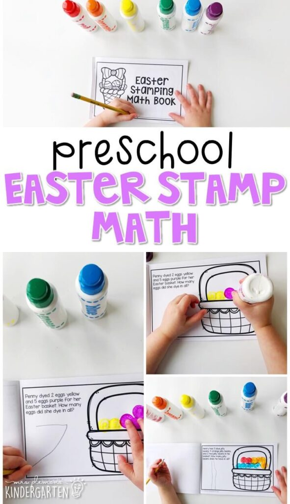 This Easter stamping math book is a great way to practice simple word problems and fine motor skills with an Easter theme. Great for spring in tot school, preschool, or even kindergarten!