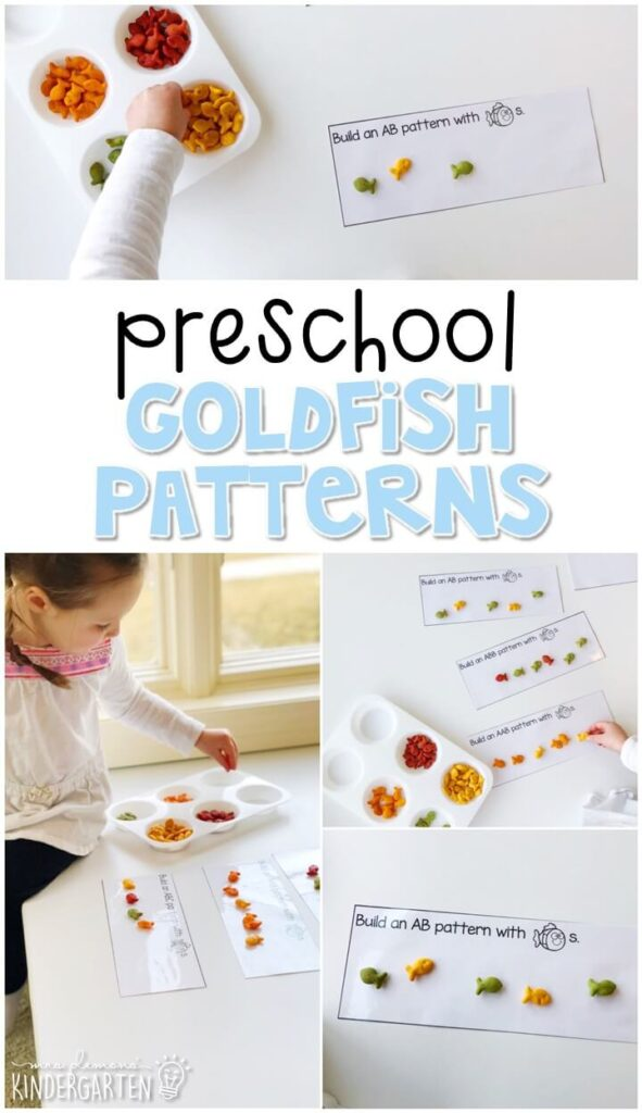 These goldfish pattern mats are a super fun way to practice patterns skills with a polar bear theme. Great for winter in tot school, preschool, or even kindergarten!