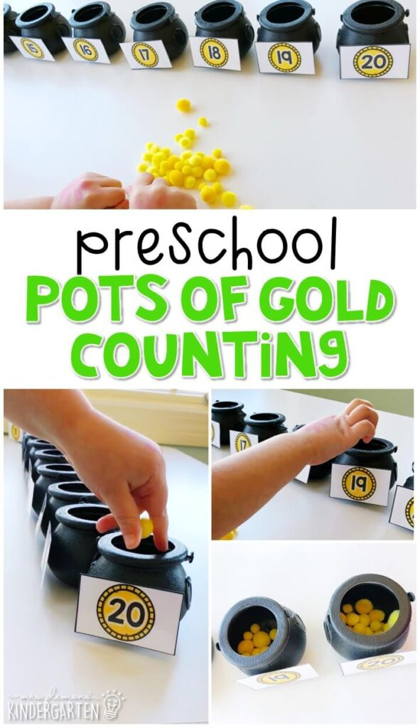 This pots of gold counting activity is a great way to practice number identification, counting, and fine motor skills with a St. Patrick's Day theme. Great for spring in tot school, preschool, or even kindergarten!