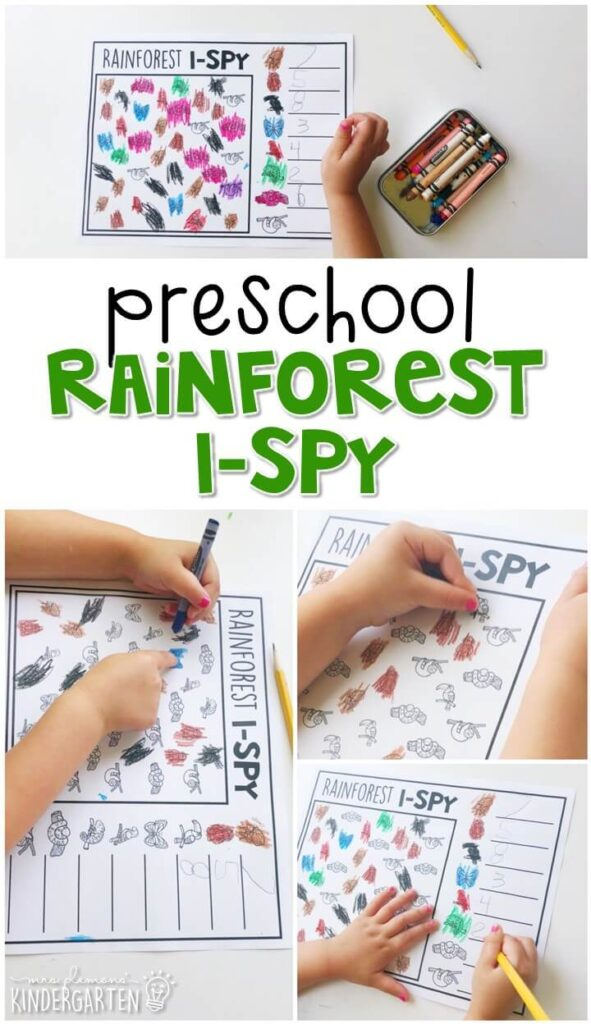Practice counting and writing numbers with this rainforest I-Spy. Perfect for a rainforest theme in tot school, preschool, or even kindergarten!