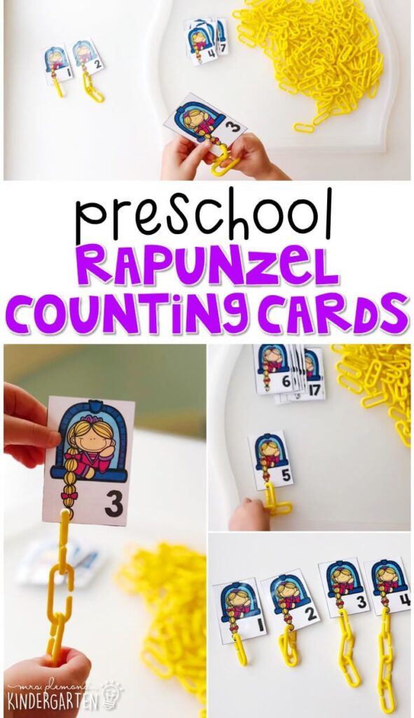 These Rapunzel counting cards are perfect combination of number and fine motor practice with a fairy tale theme. Great for tot school, preschool, or even kindergarten!