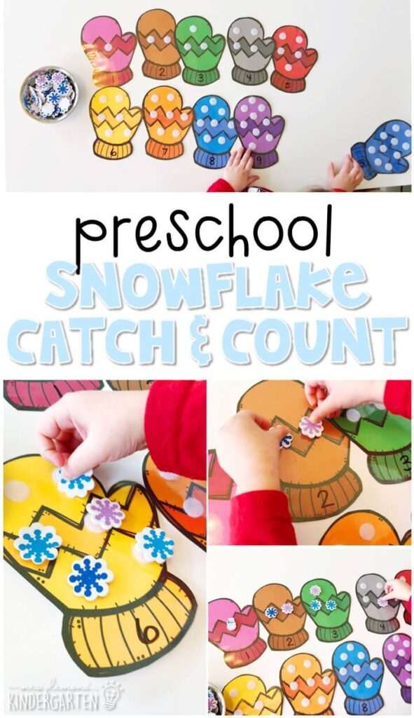 This snowflake catch and count activity is a super fun way to practice number identification, counting, and fine motor skills with a winter theme. Great for tot school, preschool, or even kindergarten!