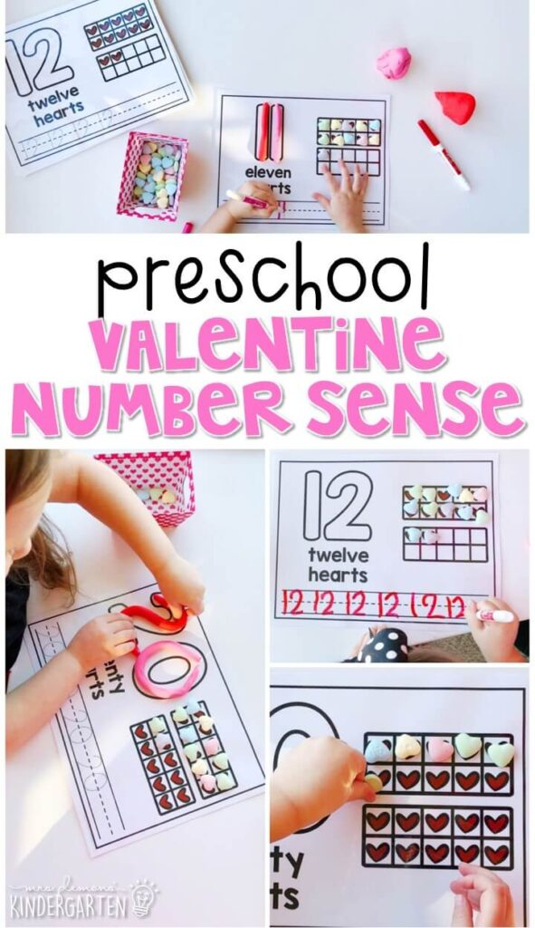 These valentines number mats are a super fun way to practice number identification, counting, number writing, and fine motor skills with a valentines theme. Great for tot school, preschool, or even kindergarten!