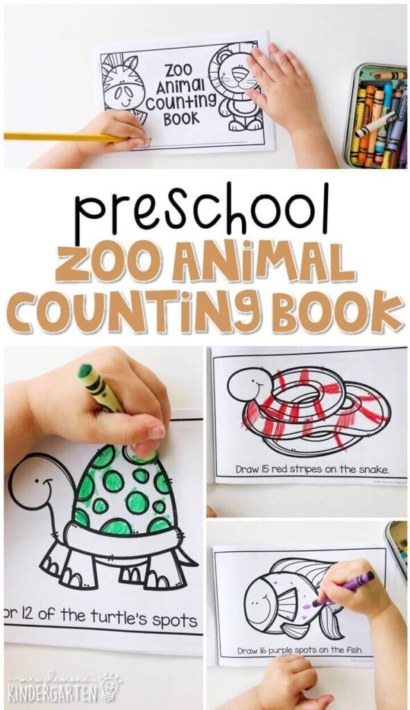 Practice number sense with this zoo animal counting book. Have fun adding the right number of spots, stripes, etc. to each animal Perfect for a zoo theme in tot school, preschool, or even kindergarten!