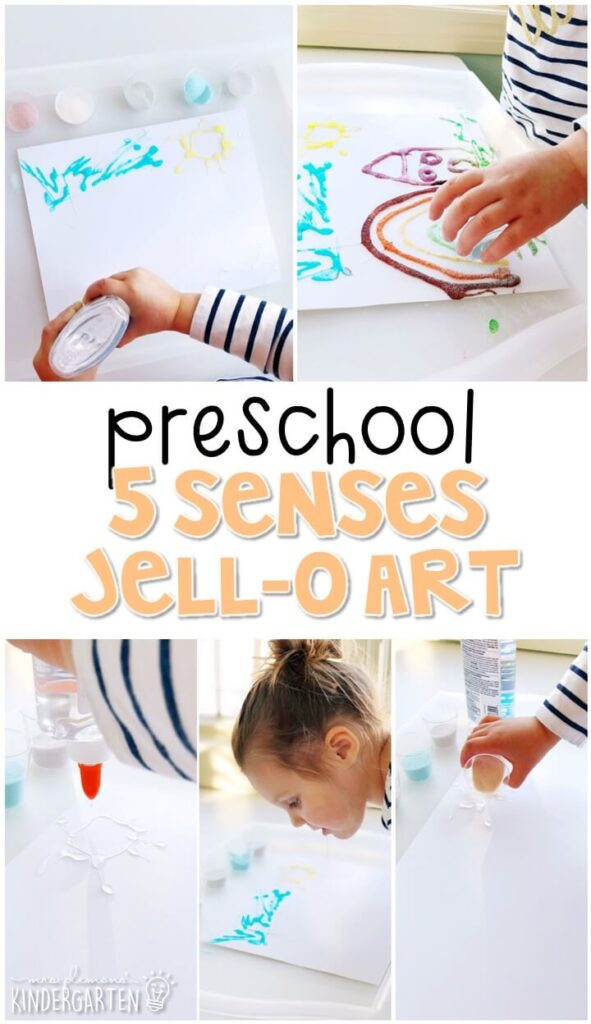 This Jell-O sensory craft was a fun way to create our own yummy smelling art. Great for tot school, preschool, or even kindergarten!
