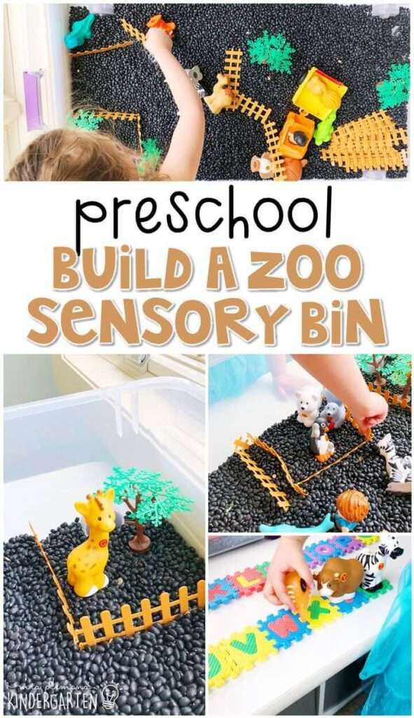 We LOVE this build a zoo sensory bin. Perfect for exploration with a zoo theme in tot school, preschool, or even kindergarten!