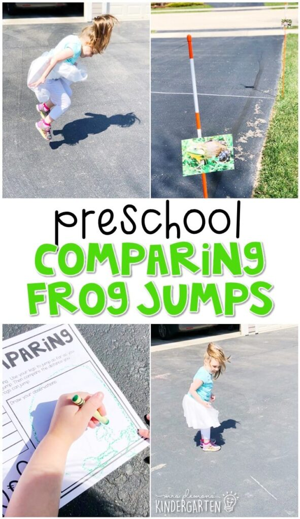 This comparing frog jump activity was a fun way to get outside and explore life science concepts. Great for spring in tot school, preschool, or even kindergarten!