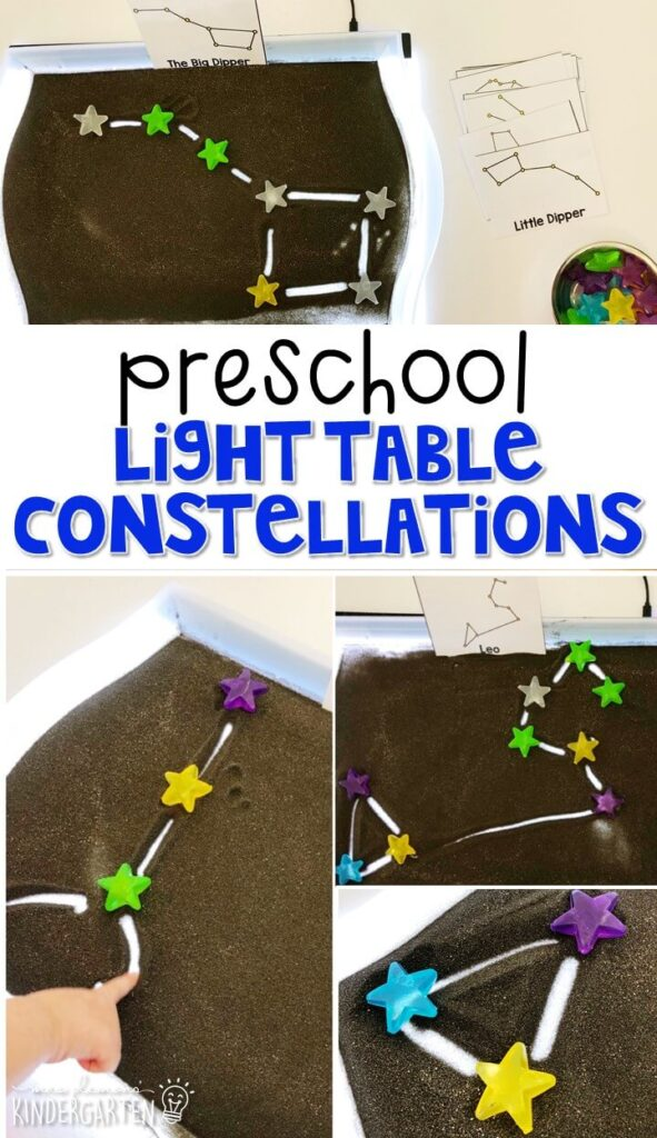 We LOVE this light table constellation sensory tray. Perfect for exploration with a space theme in tot school, preschool, or even kindergarten!