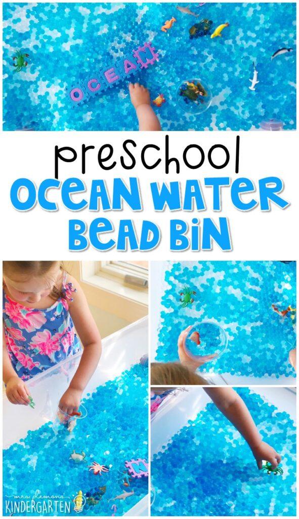 We LOVE this ocean water bead sensory bin. Perfect for exploration with an ocean theme in tot school, preschool, or even kindergarten!