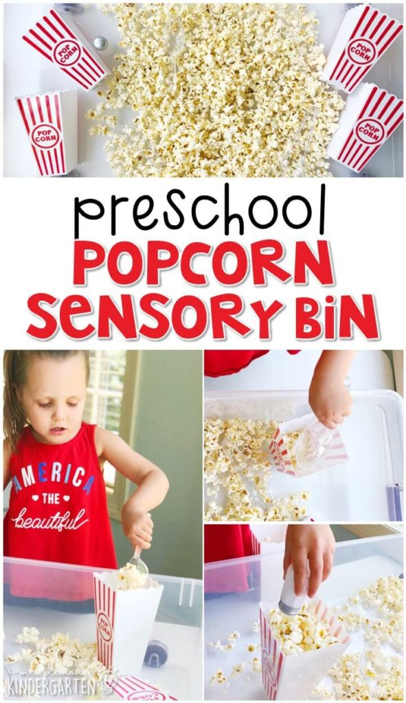 We LOVE this popcorn sensory bin. Perfect for exploration with a carnival theme in tot school, preschool, or even kindergarten!
