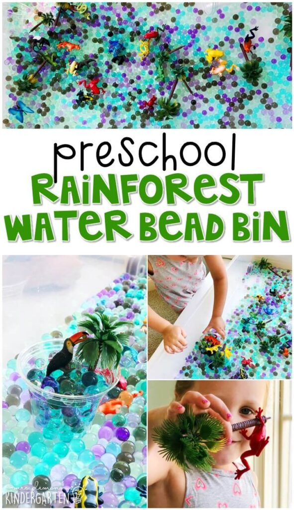 We LOVE this rainforest water bead sensory bin. Perfect for exploration with a butterfly theme in tot school, preschool, or even kindergarten!