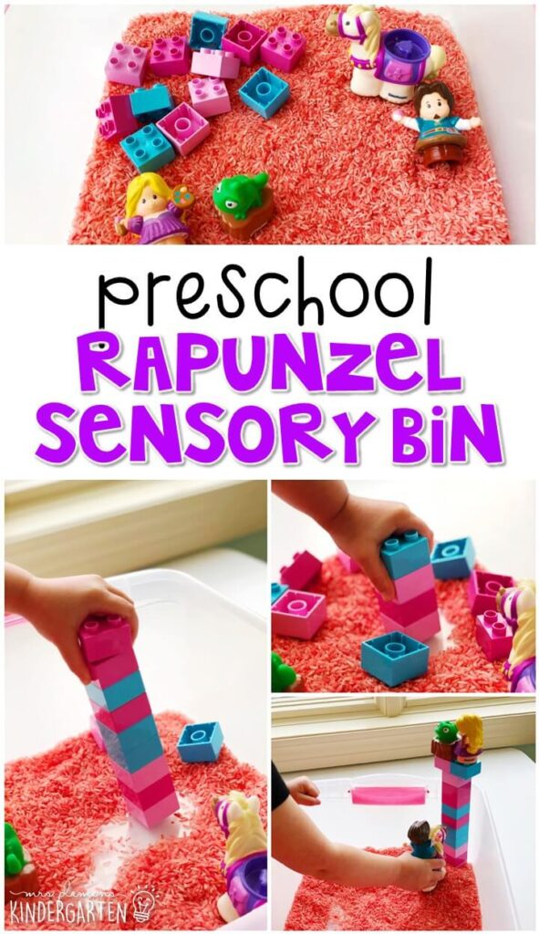 We LOVE this Rapunzel sensory bin. Perfect for exploration with a fairy tale theme in tot school, preschool, or even kindergarten!