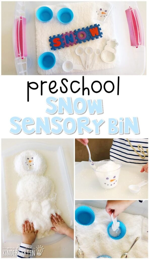 We LOVE this instant snow sensory bin. Perfect for exploration with a winter theme in tot school, preschool, or even kindergarten!