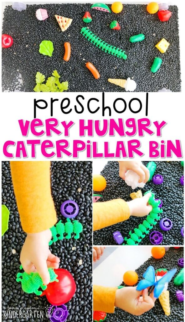 We LOVE this very hungry caterpillar sensory bin. Perfect for exploration with a butterfly theme in tot school, preschool, or even kindergarten!