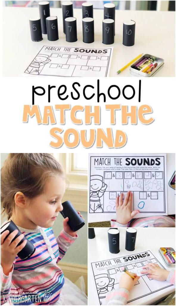This match the sound activity was a fun way to explore our sense of sound. Great for a five senses theme in tot school, preschool, or even kindergarten!