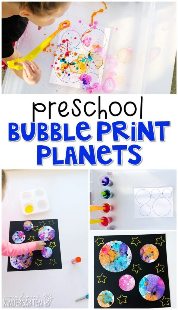 We had a blast making these bubble print planets for our space theme. They turn out so gorgeous! Perfect for tot school, preschool, or even kindergarten!