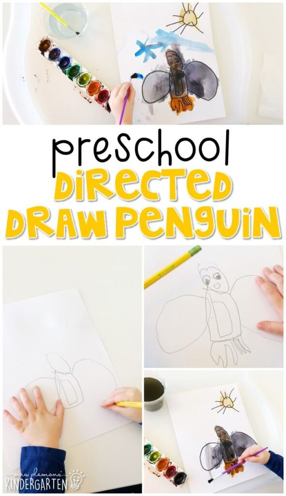This directed draw penguin was a fun way to create our own penguin while working on listening skills and following directions. Great for winter in tot school, preschool, or even kindergarten!