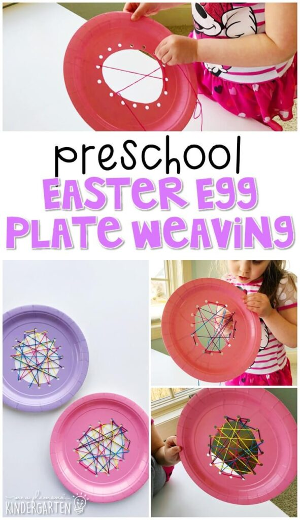 This Easter egg weaving craft was great fine motor practice and turned out beautifully. Great for an Easter theme in tot school, preschool, or even kindergarten!