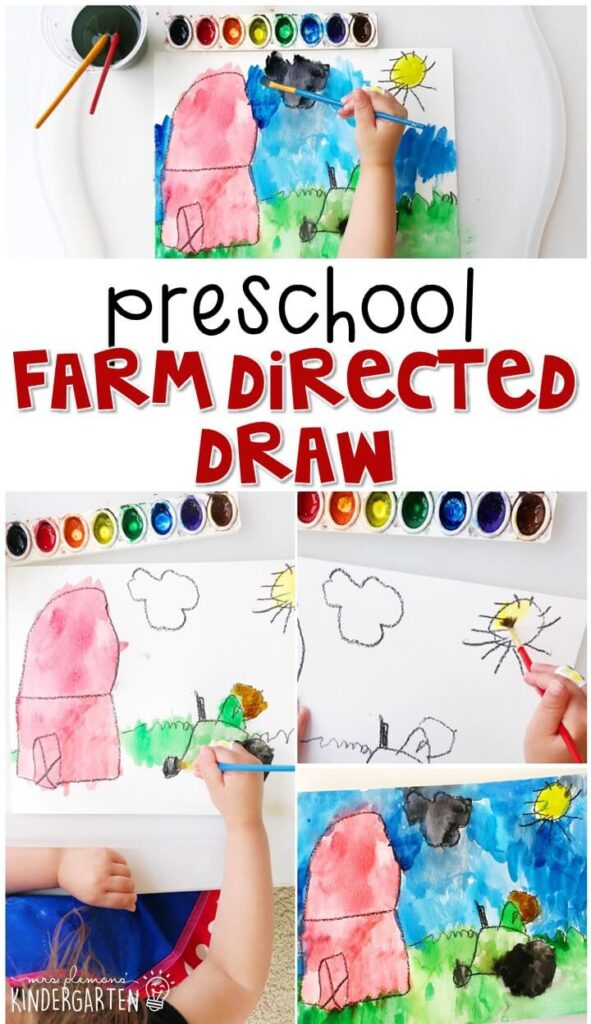 This farm directed drawing activity was a great way to practice listening skills and learning to draw. Great for a farm theme in tot school, preschool, or even kindergarten!
