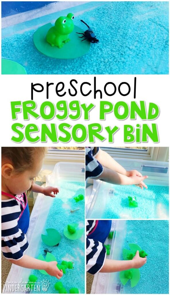 We LOVE this froggy pond sensory bin. Perfect for exploration with a frog theme in tot school, preschool, or even kindergarten!