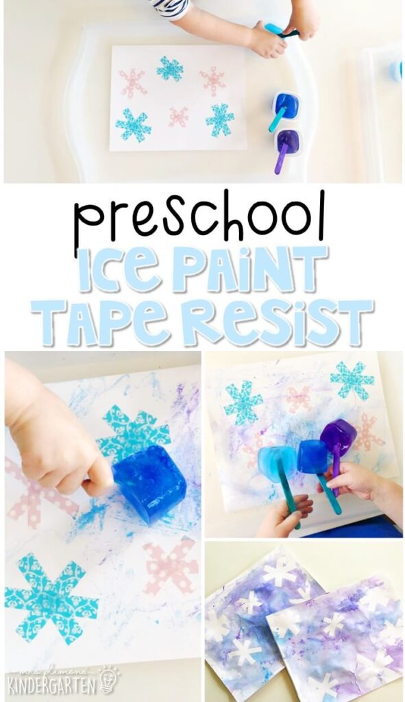 This ice paint/tape resist snowflake activity was great fine motor practice and turned out gorgeous!. Great for winter in tot school, preschool, or even kindergarten!
