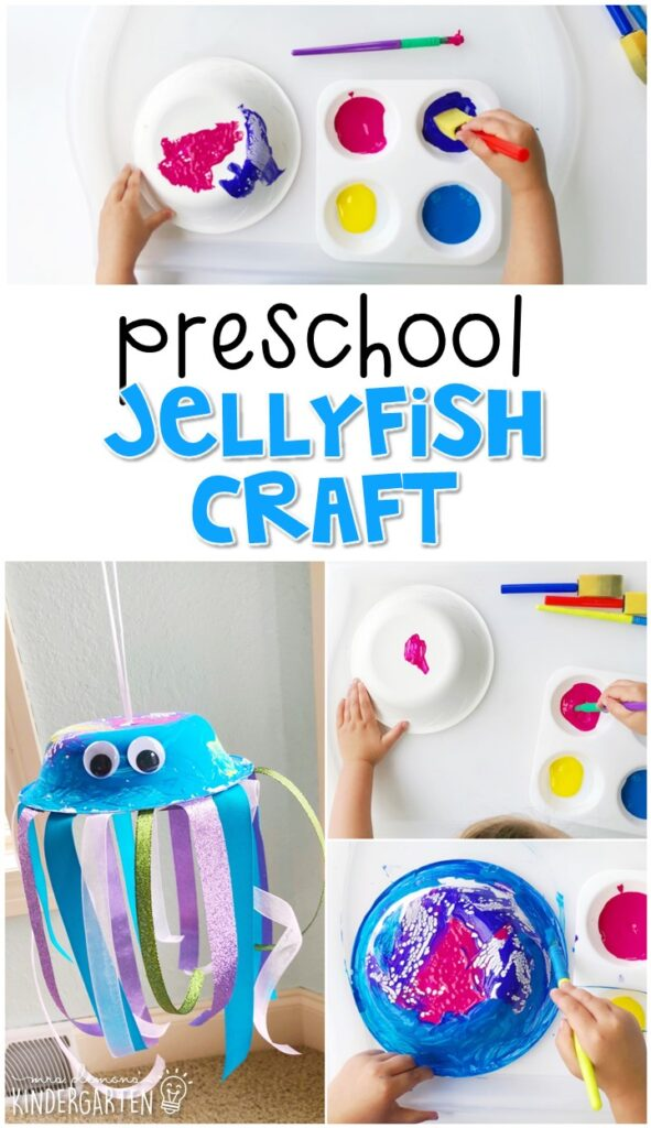 This jelly fish project turned out so cute. Great for an ocean theme in tot school, preschool, or even kindergarten!