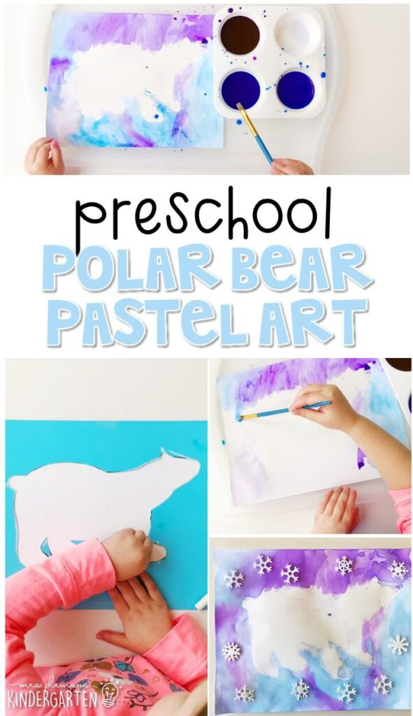 This polar bear pastel art activity was a fun way to create our own winter scene. Great for a polar bear theme tot school, preschool, or even kindergarten!