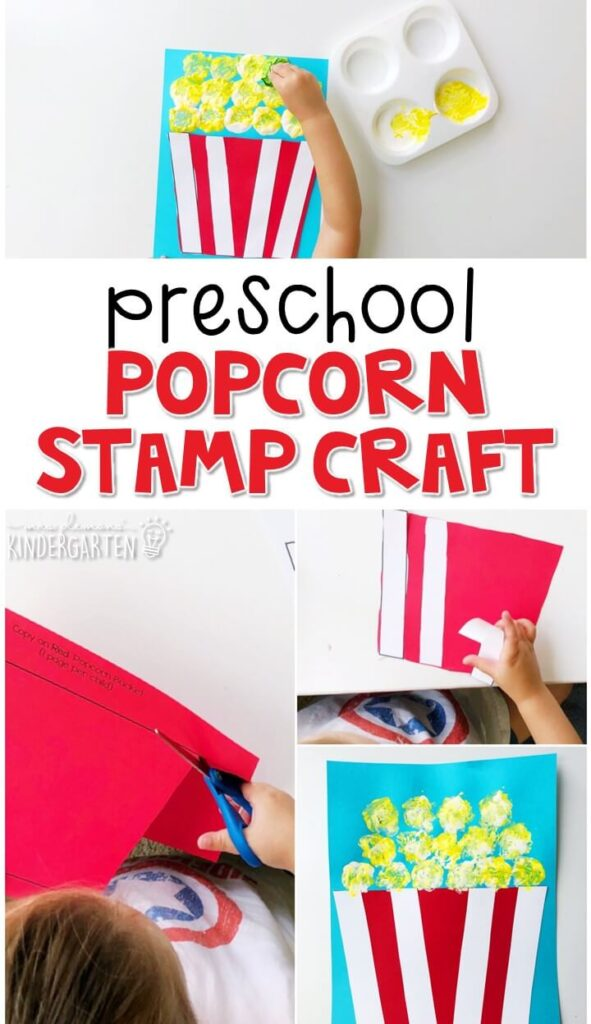 This popcorn stamp craft turned out so cute. Great for a carnival theme in tot school, preschool, or even kindergarten!