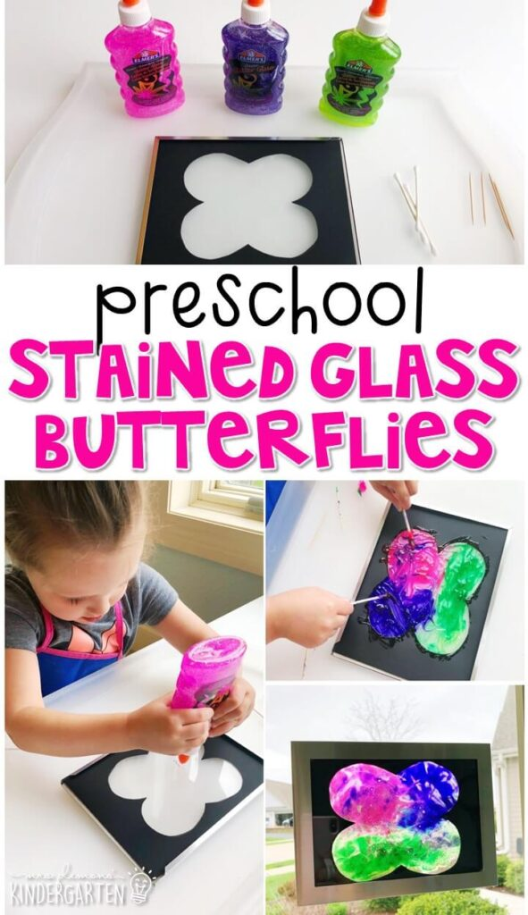 We had a blast making these stained glass butterflies. Perfect for spring in tot school, preschool, or even kindergarten!
