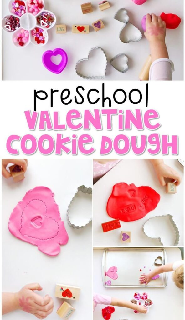 We had so much fun making these valentines play dough cookies. I added lots of sparkles, stamps, and cutters to our tray to explore and create with . Perfect sensory fun for a valentines theme in tot school, preschool, or even kindergarten!
