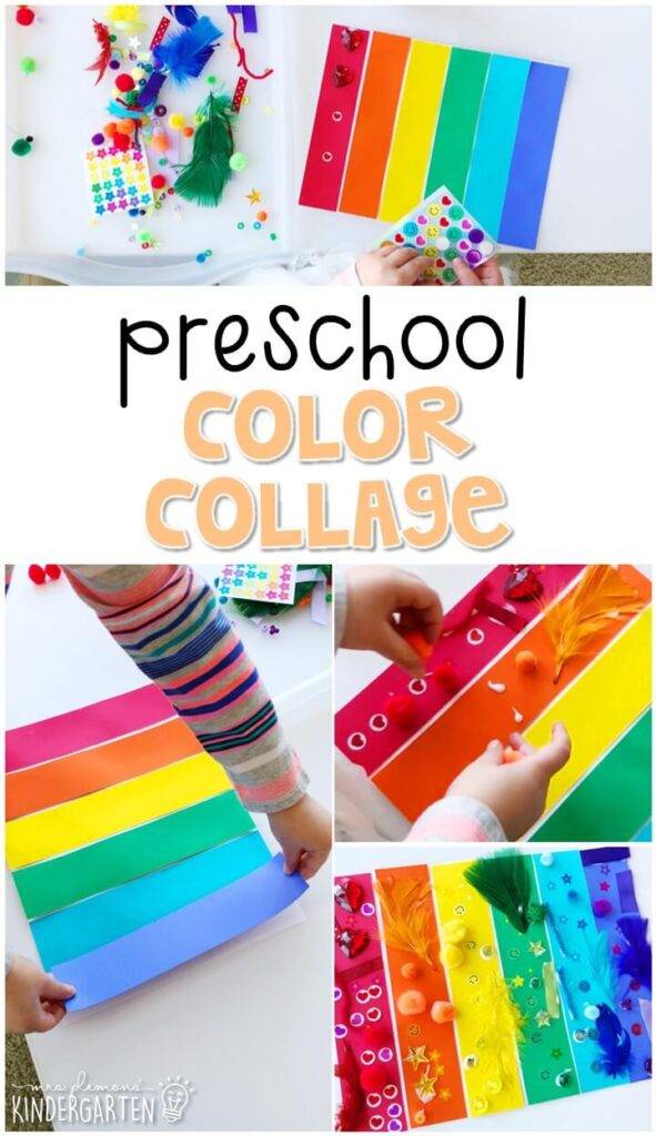 We had a blast making these color collages for our five senses theme. Perfect for tot school, preschool, or even kindergarten!